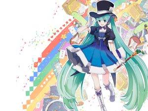 Rating: Safe Score: 75 Tags: aqua_hair blue_eyes boots chris4708 dress gloves hat hatsune_miku staff twintails vocaloid wand User: TimeCompass