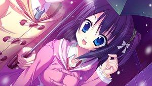 Rating: Safe Score: 48 Tags: blue_eyes game_cg hatsuyuki_sakura hontani_kanae purple_hair saga_planets shinonome_nozumu snow tie umbrella User: Maboroshi