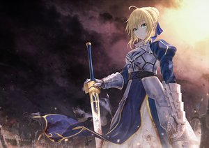 Rating: Safe Score: 92 Tags: armor artoria_pendragon_(all) blonde_hair boyogo braids clouds dress fate/grand_order fate_(series) green_eyes saber sky sword weapon User: Dreista