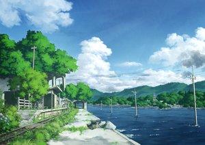 Rating: Safe Score: 87 Tags: clouds flowers grass nobody original pochi_(poti1990) ruins scenic sky train water User: otaku_emmy