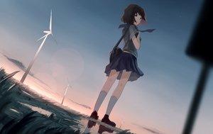 Rating: Safe Score: 89 Tags: brown_eyes brown_hair clouds kneehighs mifuru original reflection school_uniform short_hair skirt sky windmill User: RyuZU