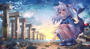 Rating: Safe Score: 47 Tags: animal animal_ears beach bird blue_eyes clouds fang fuyouchu gawr_gura gray_hair hololive long_hair sky sunset tail turtle water User: BattlequeenYume