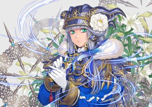 Rating: Safe Score: 31 Tags: blue_eyes flowers gloves gray_hair hat long_hair minami_(minami373916) original sword uniform weapon User: RyuZU