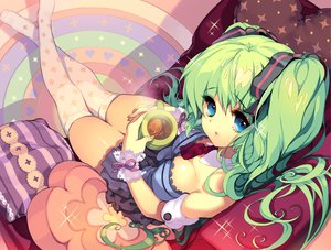 Rating: Safe Score: 71 Tags: aqua_eyes breasts cherrypin cleavage drink green_hair hatsune_miku thighhighs twintails vocaloid User: w7382001