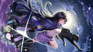 Rating: Safe Score: 60 Tags: animal black_hair boots broken_delusion building cape cat cherry_blossoms city clouds flowers gloves katana long_hair majiang petals red_eyes sky sword tagme_(character) thighhighs weapon User: RyuZU