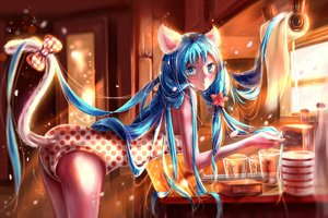 Rating: Safe Score: 130 Tags: animal_ears aqua_eyes aqua_hair blush bow catgirl hatsune_miku koma-m long_hair tail vocaloid User: Flandre93