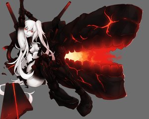 Rating: Safe Score: 117 Tags: aircraft_carrier_hime anthropomorphism armor breasts bushidokuroi elbow_gloves gloves gray kantai_collection long_hair no_bra panties red_eyes thighhighs torn_clothes underwear white_hair User: kokiriloz