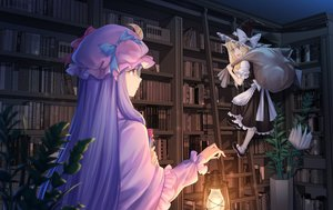 Rating: Safe Score: 38 Tags: aliasing apron blonde_hair book bow dress glasses hat kirisame_marisa long_hair patchouli_knowledge purple_eyes purple_hair stairs touhou witch witch_hat wuxu_you_de_zuobiao yellow_eyes User: RyuZU