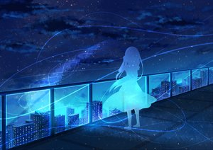Rating: Safe Score: 73 Tags: blue building city monochrome night original rooftop scenic silhouette stars yue_yue User: FormX