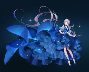 Rating: Safe Score: 67 Tags: blue dress gradient green_eyes long_hair luo_tianyi purple_hair tidsean twintails vocaloid vsinger User: BattlequeenYume
