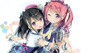 Rating: Safe Score: 196 Tags: 2girls 5_nenme_no_houkago black_hair blush calendar hat headphones kantoku kurumi_(kantoku) microphone original pink_hair purple_eyes ribbons shizuku_(kantoku) short_hair skirt tie twintails white wink User: Wiresetc