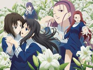 Rating: Questionable Score: 14 Tags: aozaki_touko asagami_fujino flowers kara_no_kyoukai kokutou_azaka ouji_misaya ryougi_shiki wink User: Oyashiro-sama