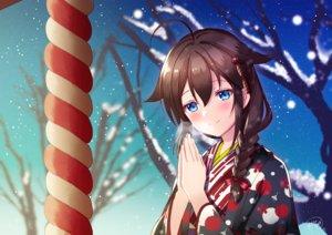 Rating: Safe Score: 41 Tags: aqua_eyes braids brown_hair ittokyu japanese_clothes kantai_collection kimono long_hair ponytail rope shigure_(kancolle) signed snow tree User: RyuZU