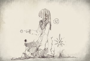 Rating: Safe Score: 32 Tags: flowers headphones long_hair monochrome original scarf sketch skirt User: JSM...RAP^