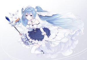 Rating: Safe Score: 52 Tags: animal blue_hair dress hatsune_miku inosia kneehighs long_hair rabbit signed vocaloid yuki_miku yukine_(vocaloid) User: Dreista