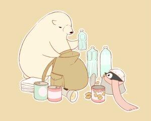 Rating: Safe Score: 13 Tags: animal bear brown chai_(artist) drink food hat nobody original penguin polychromatic scarf signed User: otaku_emmy