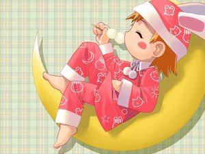 Rating: Safe Score: 6 Tags: animal_ears barefoot blush bunny_ears bunnygirl food iuro loli moon orange_hair pajamas User: Oyashiro-sama