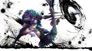 Rating: Safe Score: 145 Tags: blue_hair bow flameskevin long_hair mask monster_hunter nargacuga_(armor) weapon white User: opai