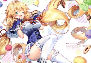 Rating: Safe Score: 90 Tags: anthropomorphism azur_lane blonde_hair blush bow braids breasts cake candy cherry chocolate cleavage corset dress food fruit garter_belt gloves green_eyes le_temeraire_(azur_lane) long_hair original ribbons riichu scan thighhighs twintails wink User: BattlequeenYume