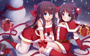 Rating: Safe Score: 28 Tags: 2girls blue_eyes boots breasts brown_hair christmas cleavage dress elbow_gloves long_hair nerv110 original short_hair thighhighs wristwear User: Wiresetc