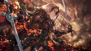 Rating: Safe Score: 143 Tags: armor avamone blonde_hair cape dress fate/grand_order fate_(series) fire jeanne_d'arc_alter jeanne_d'arc_(fate) short_hair sword weapon yellow_eyes User: RyuZU