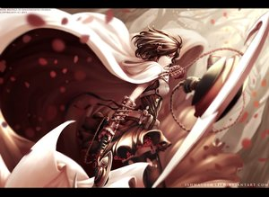 Rating: Safe Score: 150 Tags: armor black_hair cape chain cross dishwasher1910 flowers monochrome red rwby short_hair skirt summer_rose thighhighs watermark weapon yellow_eyes User: Precursor