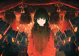 Rating: Safe Score: 134 Tags: black_hair hoodie kitsune_(kazenouta) original red_eyes rope short_hair User: Flandre93