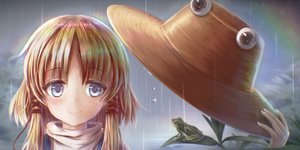 Rating: Safe Score: 11 Tags: animal blonde_hair blue_eyes close frog hat kotatsu_(kotatu04) long_hair moriya_suwako rain rainbow touhou water User: otaku_emmy