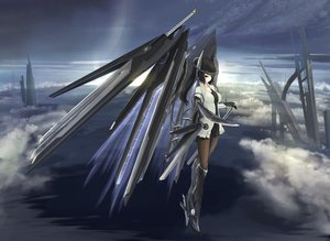 Rating: Safe Score: 256 Tags: black_eyes black_hair boots clouds kikivi mechagirl original sky sword weapon wings User: opai