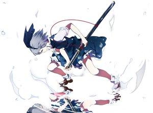 Rating: Safe Score: 70 Tags: gray_hair ikurauni konpaku_youmu reflection short_hair sword touhou weapon white User: RyuZU