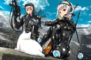 Rating: Safe Score: 48 Tags: animal ano_hito building cat city clouds gun headphones male original red_eyes short_hair sky techgirl weapon white_hair User: BattlequeenYume