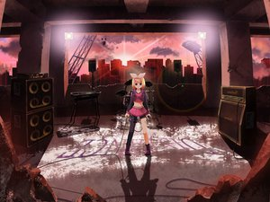 Rating: Safe Score: 97 Tags: boots building city drums instrument kagamine_rin microphone shiramori_yuse skirt vocaloid User: HawthorneKitty