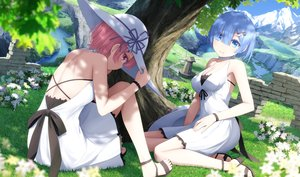 Rating: Safe Score: 131 Tags: 2girls blue_eyes blue_hair dress flowers haribote_(tarao) hat pink_hair ram_(re:zero) red_eyes rem_(re:zero) re:zero_kara_hajimeru_isekai_seikatsu shade short_hair summer_dress tree twins water User: BattlequeenYume