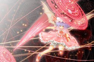 Rating: Safe Score: 21 Tags: dress hat magic passerby purple_hair red_eyes remilia_scarlet ribbons short_hair socks spear touhou vampire weapon wings User: Tensa