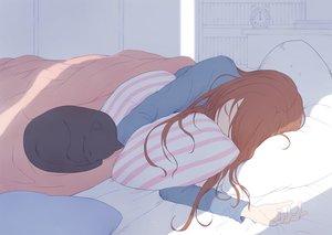Rating: Safe Score: 39 Tags: animal bed brown_hair cat long_hair original ryuga_(balius) sleeping User: RyuZU