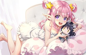 Rating: Safe Score: 76 Tags: barefoot doll dress kashiwazaki_hatsune pink_hair pointed_ears princess_connect! purple_eyes yansun User: BattlequeenYume