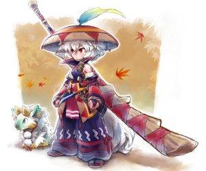 Rating: Safe Score: 112 Tags: animal_ears crossover inubashiri_momiji jinouga matsuda_(matsukichi) monster_hunter red_eyes short_hair sword tail touhou weapon white_hair wolfgirl User: PAIIS