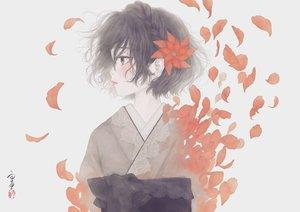Rating: Safe Score: 35 Tags: black_hair brown_eyes flowers japanese_clothes kimono original petals short_hair signed ushiyama_ame User: RyuZU