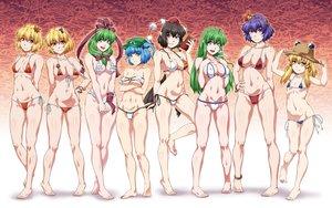 Rating: Safe Score: 62 Tags: aki_minoriko aki_shizuha aliasing barefoot bikini breast_hold breasts cameltoe cleavage gradient group kagiyama_hina kawashiro_nitori kochiya_sanae loli moriya_suwako navel ootsuki_wataru shameimaru_aya swimsuit touhou yasaka_kanako User: FormX