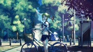 Rating: Safe Score: 93 Tags: bicycle blue_eyes green_hair gumi no.734 school_uniform short_hair skirt tree vocaloid User: Flandre93