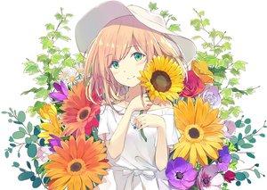 Rating: Safe Score: 59 Tags: blonde_hair blush dress flowers green_eyes hat necklace original summer_dress sutorora white User: RyuZU