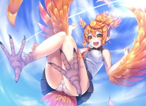 Rating: Questionable Score: 63 Tags: ass breasts cameltoe clouds erect_nipples feathers gacchu orange_eyes orange_hair original panties pointed_ears ponytail skintight skirt sky tail tie underwear upskirt wings User: BattlequeenYume