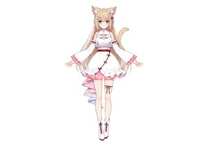 Rating: Safe Score: 75 Tags: animal_ears aqua_eyes blonde_hair blush boots braids catgirl chinese_clothes dress garter hanazono_serena hanazono_serena_(channel) long_hair muryou tail white User: otaku_emmy