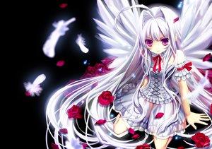 Rating: Safe Score: 205 Tags: angel bow dress feathers flowers lolita_fashion long_hair okuma_mai original purple_eyes rose white_hair wings User: opai