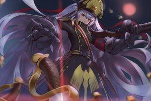 Rating: Safe Score: 98 Tags: brown_eyes chiwa_(tsugumisky) dress gloves gray_hair gunpuku_no_himegimi hat long_hair re:creators sword weapon User: RyuZU