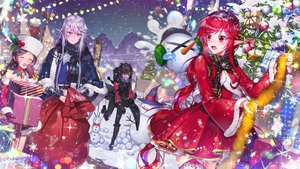 Rating: Safe Score: 24 Tags: 2girls black_eyes black_hair blush christmas dress dungeon_and_fighter gloves gray_hair hat long_hair milcona night pointed_ears red_eyes red_hair short_hair snow snowman stars tree winter User: BattlequeenYume