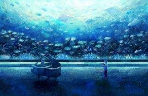 Rating: Safe Score: 108 Tags: animal fish instrument nomiya_(no_38) original piano underwater violin water User: FormX