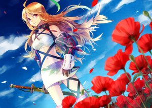 Rating: Safe Score: 115 Tags: blonde_hair flowers long_hair milla_maxwell petals sky tales_of_xillia weapon User: HawthorneKitty