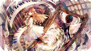 Rating: Safe Score: 66 Tags: bai_qi-qsr brown_eyes brown_hair deemo dress feathers flowers girl_(deemo) long_hair mirror pantyhose petals tie User: RyuZU