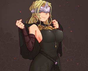 Rating: Safe Score: 28 Tags: blindfold blonde_hair breasts brown cape cropped dark_souls dress erect_nipples fire_keeper headdress justrube long_hair necklace sideboob User: otaku_emmy